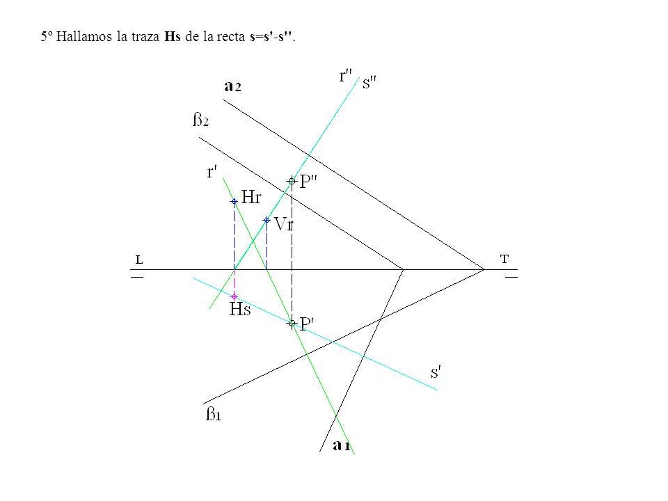 5º Hallamos la traza Hs de la recta s=s'-s''.