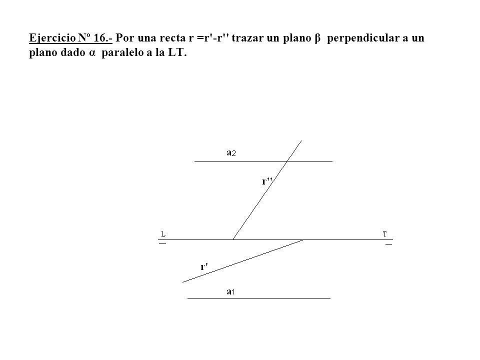Ejercicio Nº 16.- Por una recta r =r'-r'' trazar un plano β perpendicular a un plano dado α paralelo a la LT.