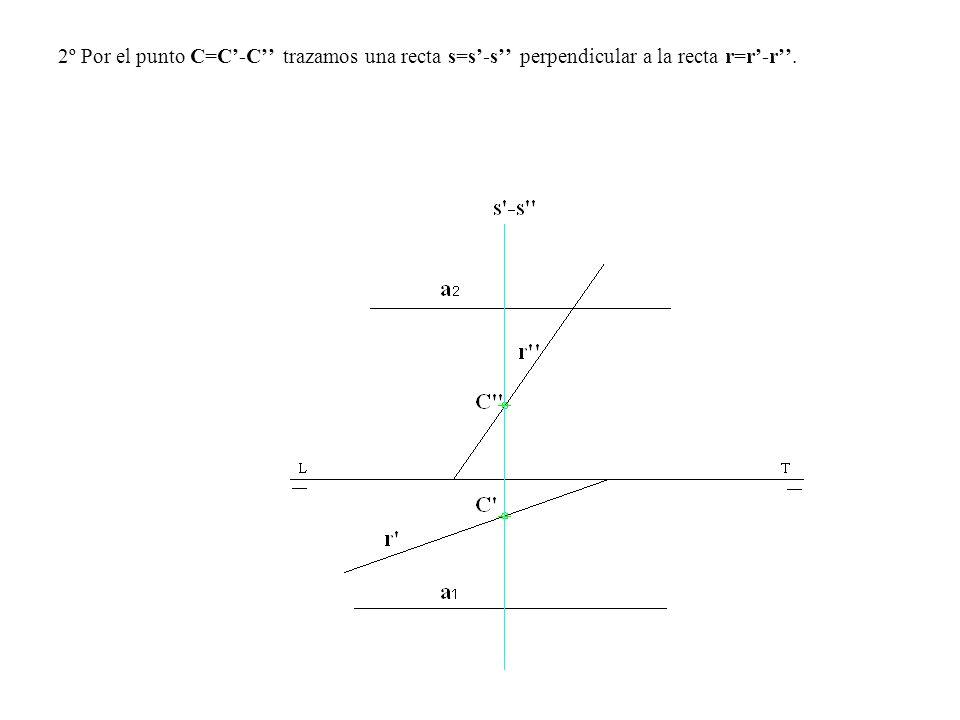 2º Por el punto C=C-C trazamos una recta s=s-s perpendicular a la recta r=r-r.