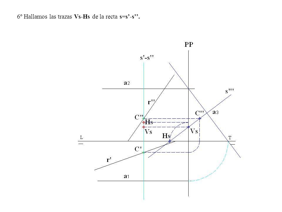 6º Hallamos las trazas Vs-Hs de la recta s=s-s.