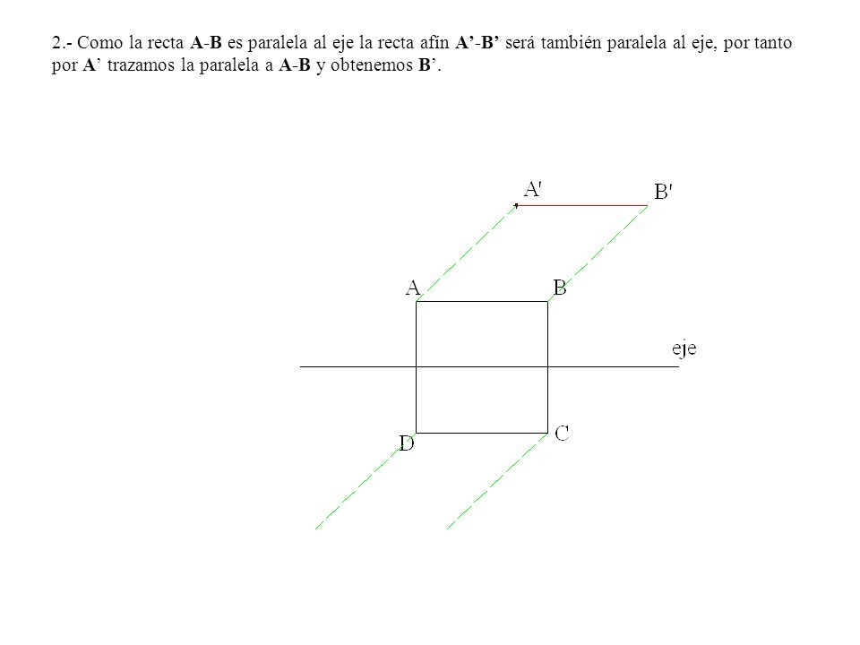 2.- Como la recta A-B es paralela al eje la recta afín A-B será también paralela al eje, por tanto por A trazamos la paralela a A-B y obtenemos B.