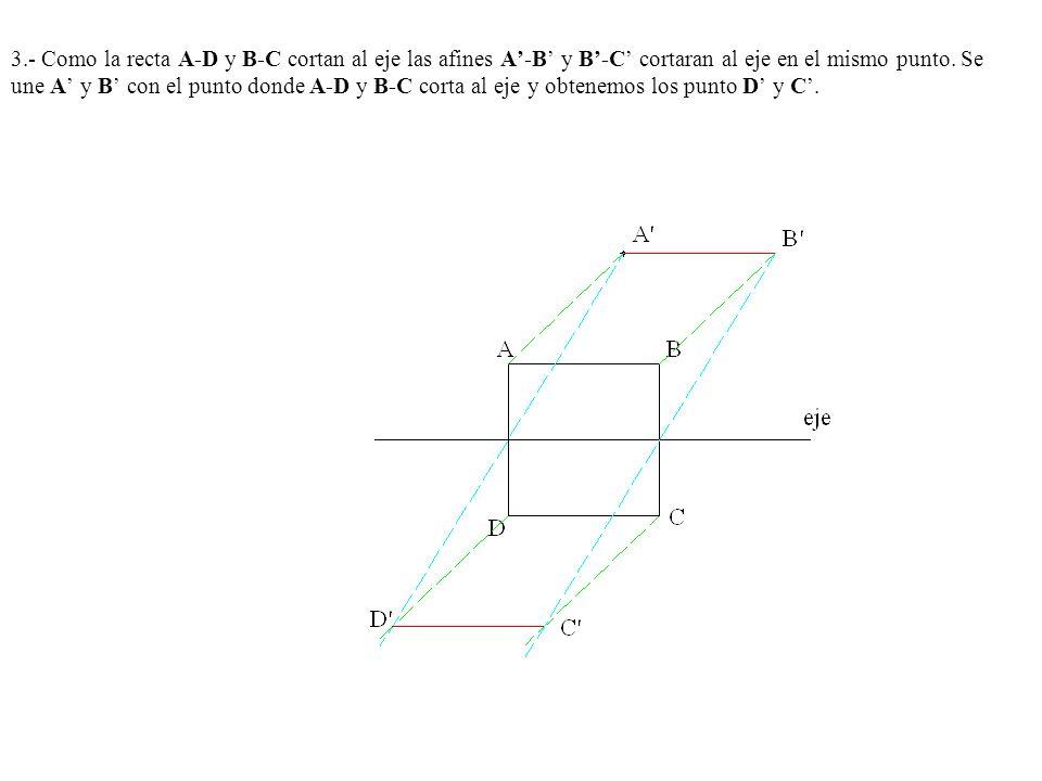 3.- Como la recta A-D y B-C cortan al eje las afines A-B y B-C cortaran al eje en el mismo punto. Se une A y B con el punto donde A-D y B-C corta al e