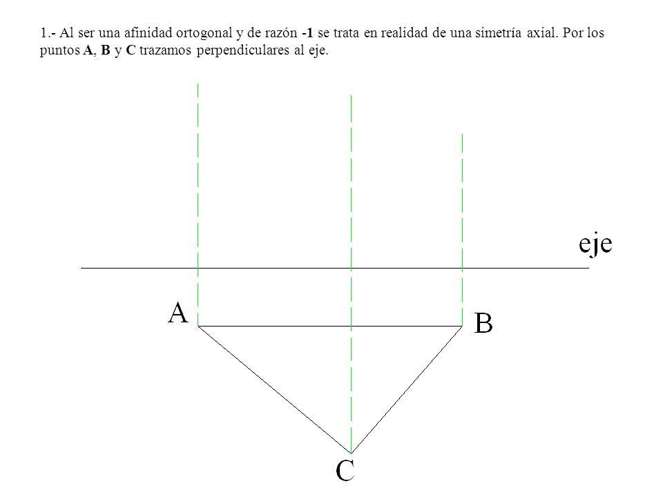 1.- Al ser una afinidad ortogonal y de razón -1 se trata en realidad de una simetría axial. Por los puntos A, B y C trazamos perpendiculares al eje.
