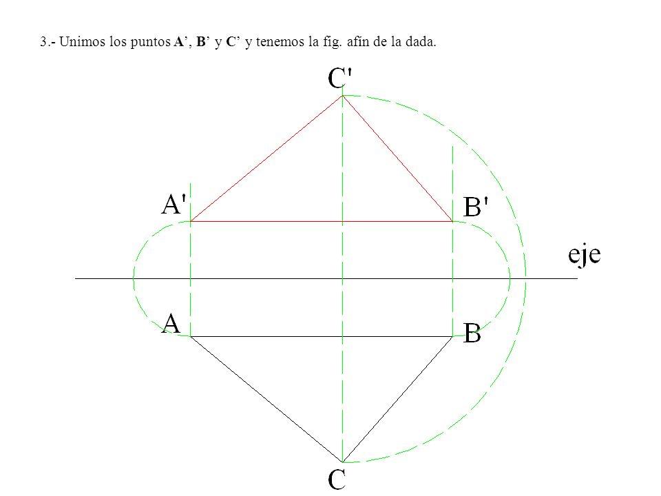 3.- Unimos los puntos A, B y C y tenemos la fig. afín de la dada.
