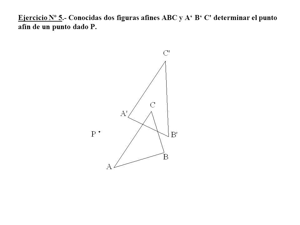 Ejercicio Nº 5.- Conocidas dos figuras afines ABC y A B C' determinar el punto afín de un punto dado P.