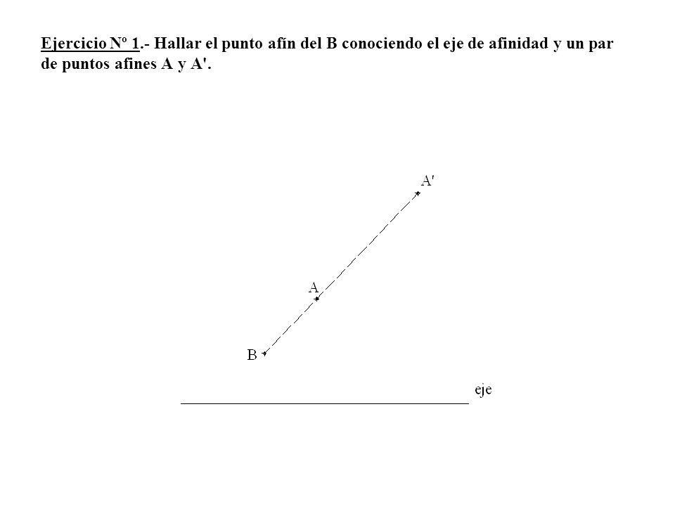 1.- Tomamos un punto C cualquiera, por C trazamos una paralela a la dirección de afinidad A-A, unimos A con C y obtenemos el punto 1-1, se une a continuación el punto 1-1 con A y obtenemos el punto C afín del C.
