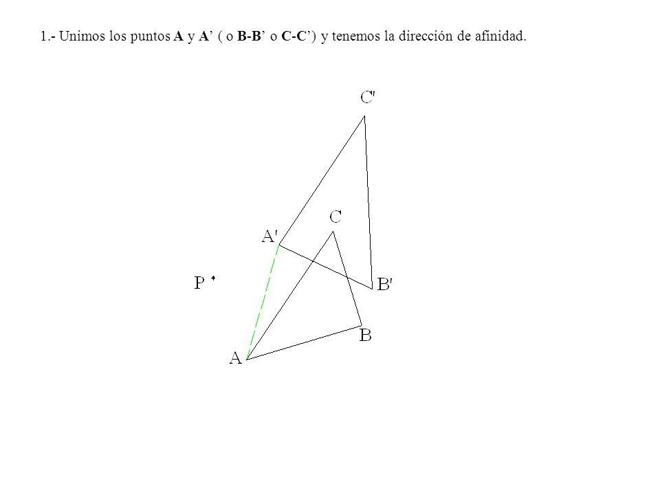 1.- Unimos los puntos A y A ( o B-B o C-C) y tenemos la dirección de afinidad.