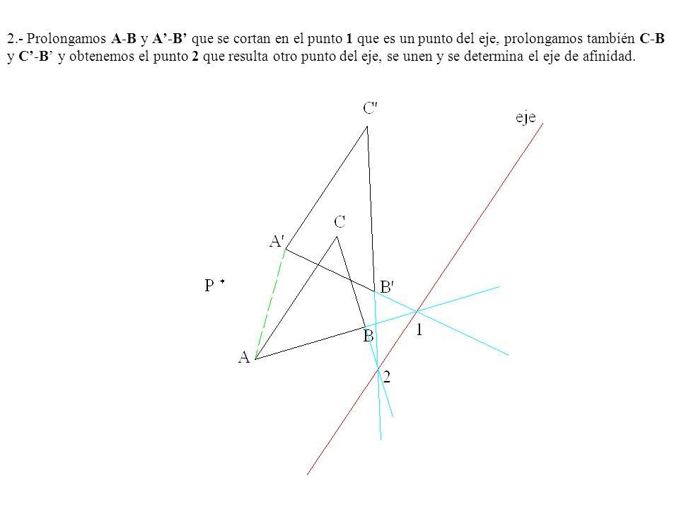2.- Prolongamos A-B y A-B que se cortan en el punto 1 que es un punto del eje, prolongamos también C-B y C-B y obtenemos el punto 2 que resulta otro p