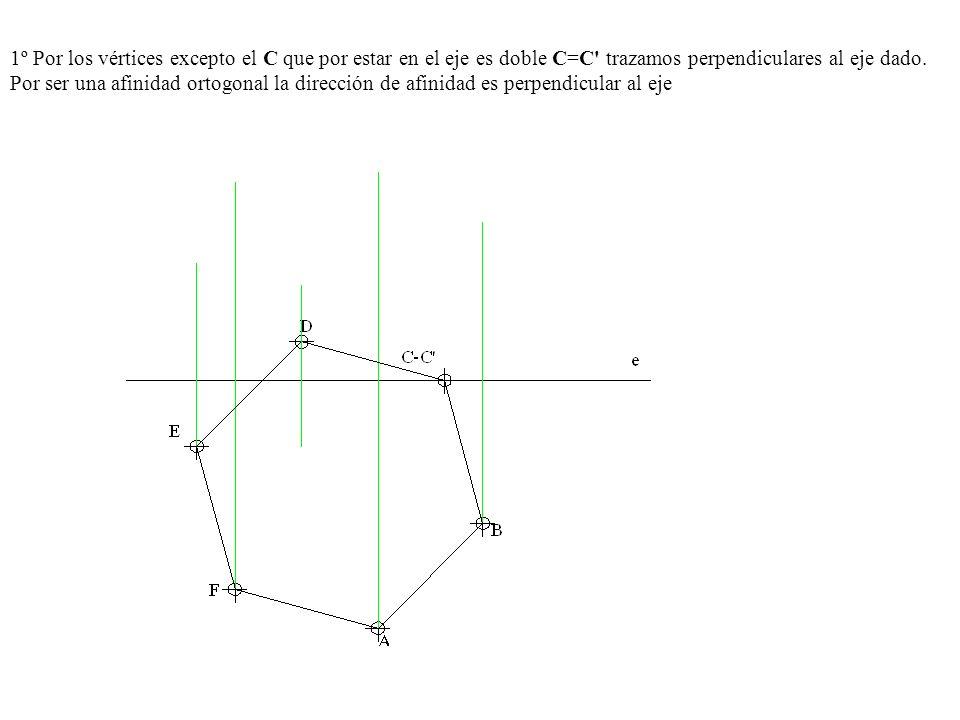 1º Por los vértices excepto el C que por estar en el eje es doble C=C' trazamos perpendiculares al eje dado. Por ser una afinidad ortogonal la direcci