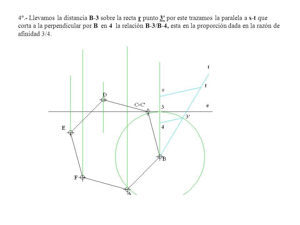 4º.- Llevamos la distancia B-3 sobre la recta r punto 3' por este trazamos la paralela a s-t que corta a la perpendicular por B en 4 la relación B-3/B