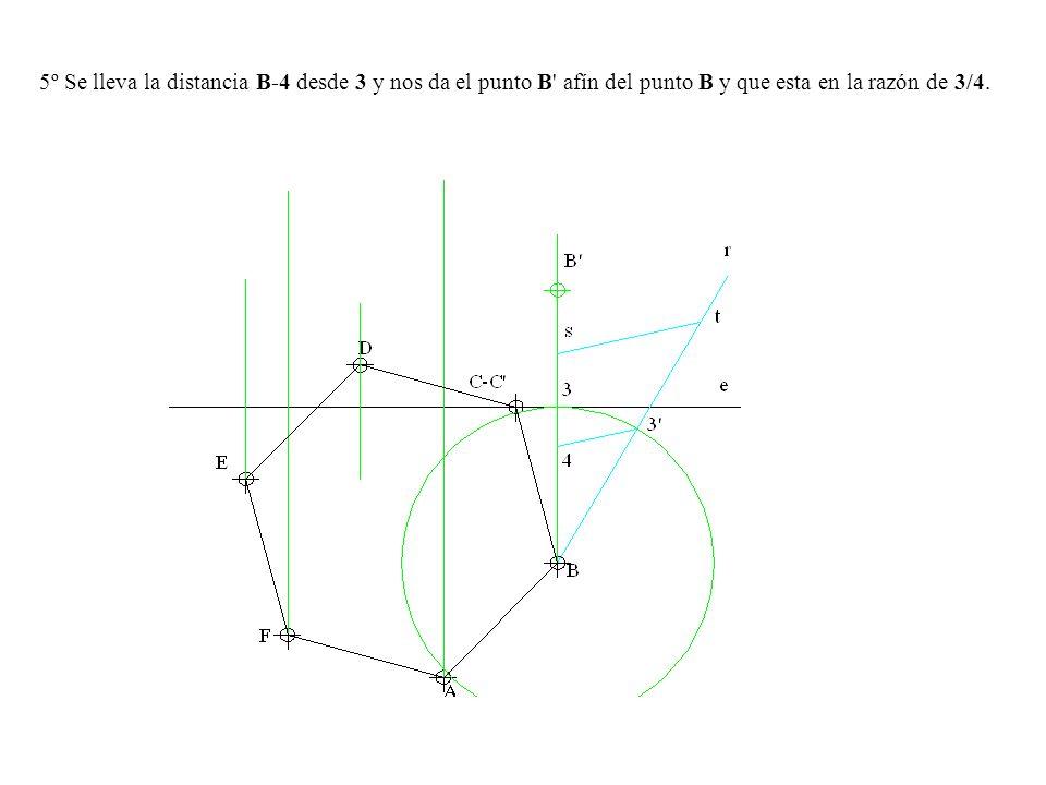 5º Se lleva la distancia B-4 desde 3 y nos da el punto B' afín del punto B y que esta en la razón de 3/4.