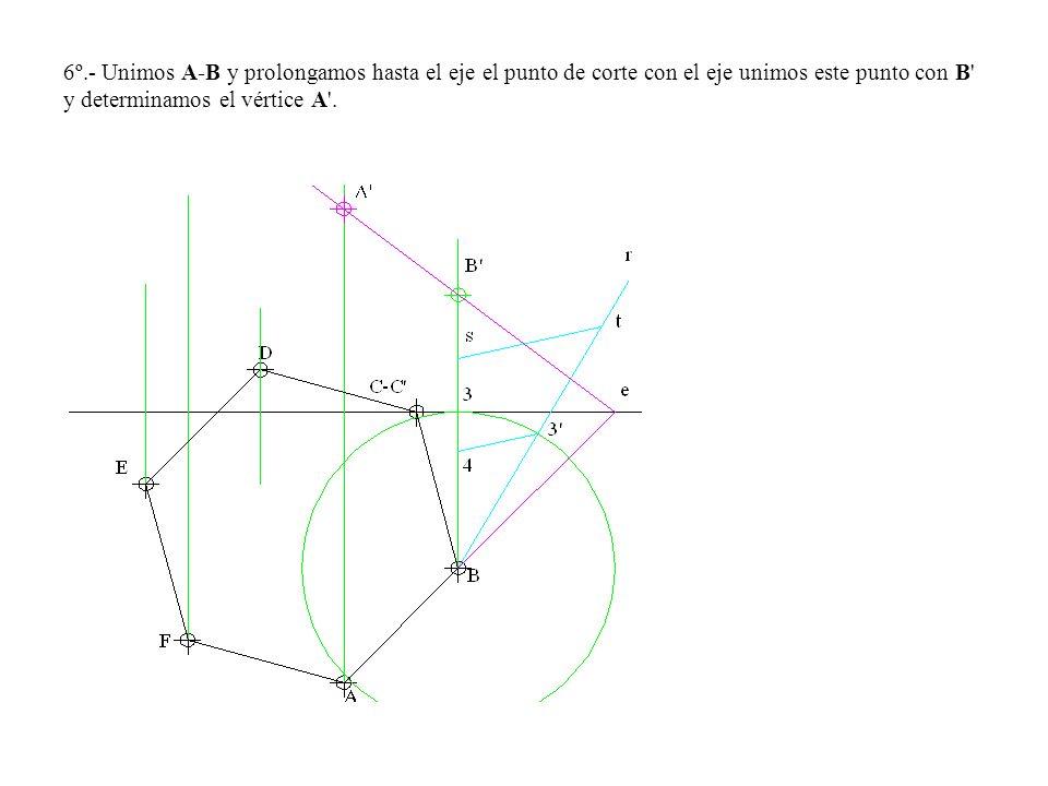 6º.- Unimos A-B y prolongamos hasta el eje el punto de corte con el eje unimos este punto con B' y determinamos el vértice A'.