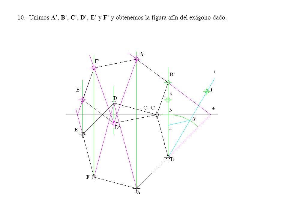 10.- Unimos A, B, C, D, E y F y obtenemos la figura afín del exágono dado.
