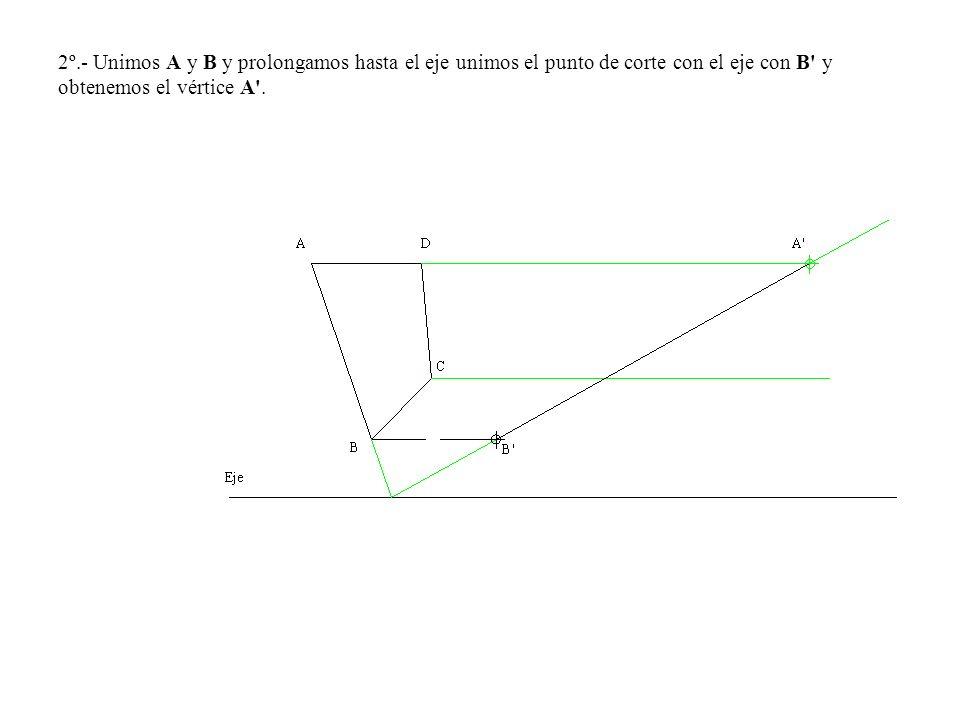 2º.- Unimos A y B y prolongamos hasta el eje unimos el punto de corte con el eje con B' y obtenemos el vértice A'.