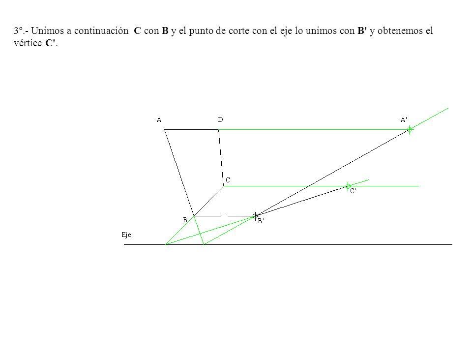 3º.- Unimos a continuación C con B y el punto de corte con el eje lo unimos con B' y obtenemos el vértice C'.