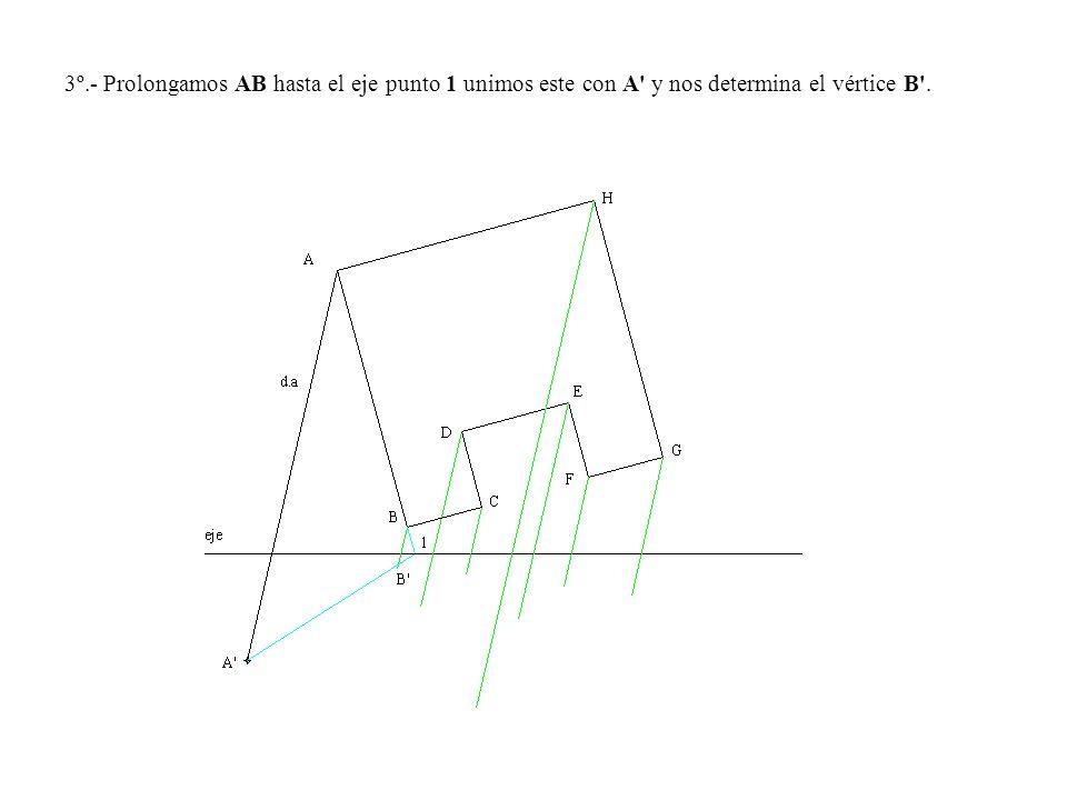 3º.- Prolongamos AB hasta el eje punto 1 unimos este con A' y nos determina el vértice B'.