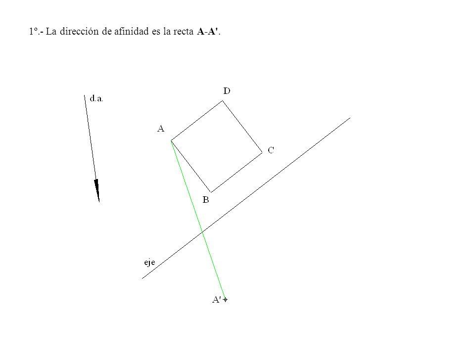 1º.- La dirección de afinidad es la recta A-A'.