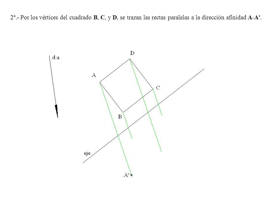 2º.- Por los vértices del cuadrado B, C, y D, se trazan las rectas paralelas a la dirección afinidad A-A'.