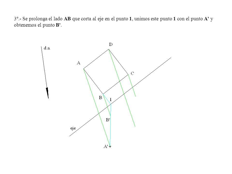3º.- Se prolonga el lado AB que corta al eje en el punto 1, unimos este punto 1 con el punto A' y obtenemos el punto B'.