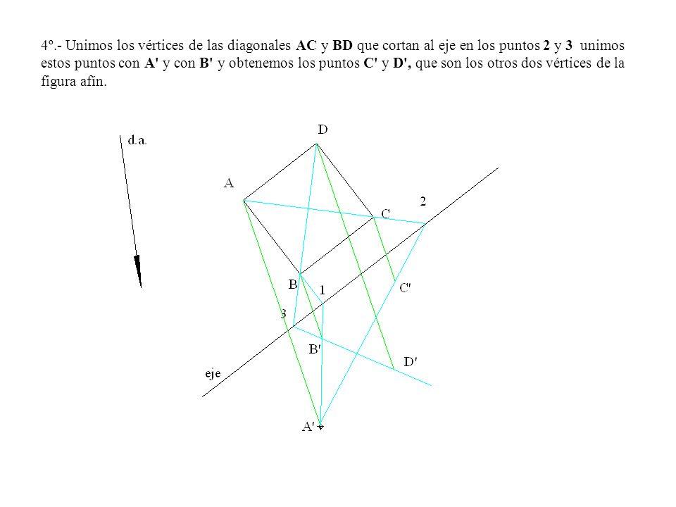 4º.- Unimos los vértices de las diagonales AC y BD que cortan al eje en los puntos 2 y 3 unimos estos puntos con A' y con B' y obtenemos los puntos C'