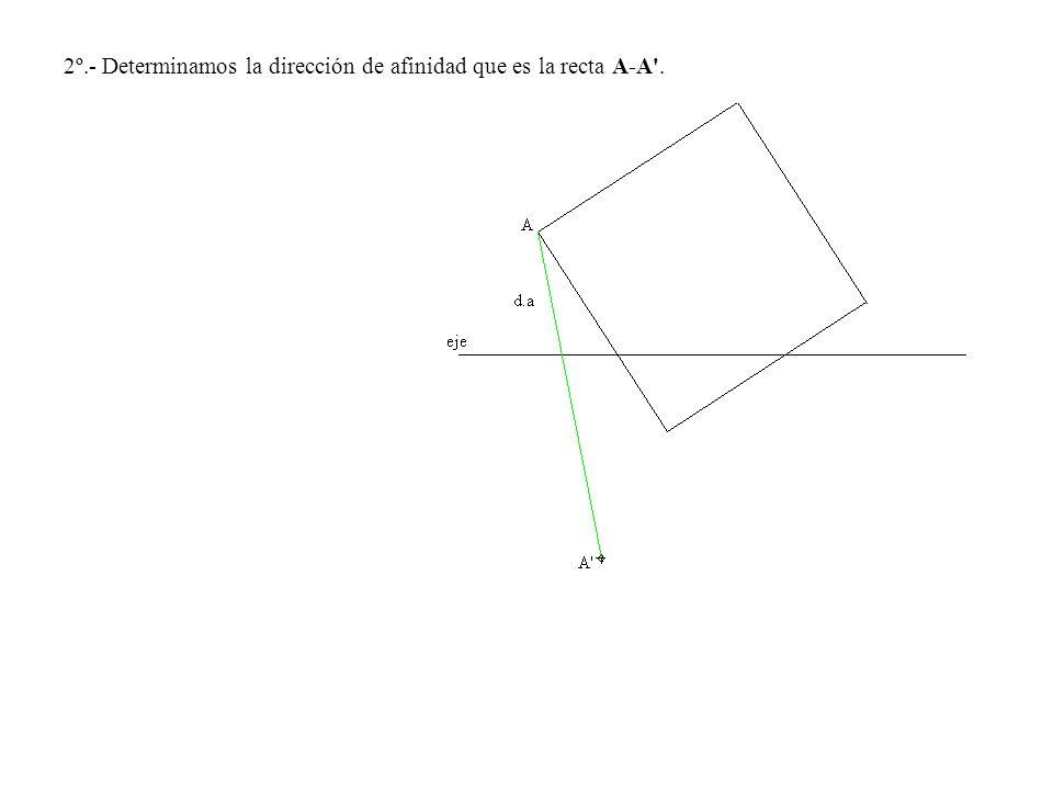 2º.- Determinamos la dirección de afinidad que es la recta A-A'.