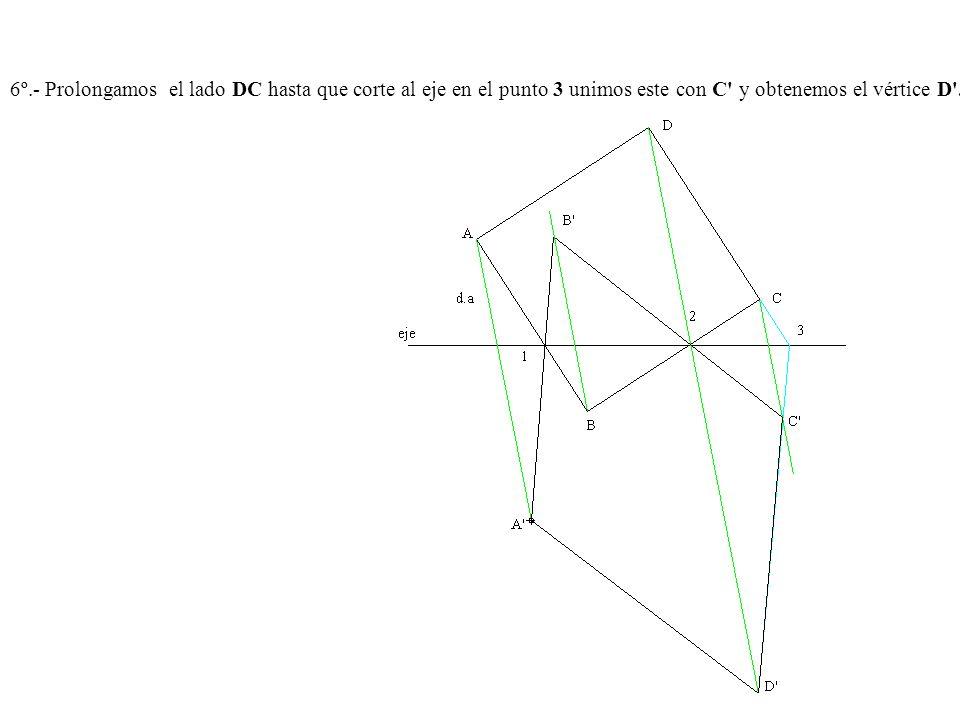 6º.- Prolongamos el lado DC hasta que corte al eje en el punto 3 unimos este con C' y obtenemos el vértice D'.