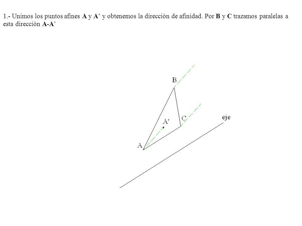 1.- Unimos los puntos afines A y A y obtenemos la dirección de afinidad. Por B y C trazamos paralelas a esta dirección A-A