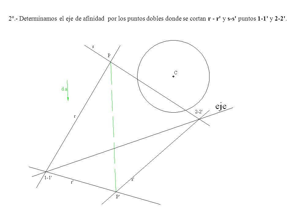 2º.- Determinamos el eje de afinidad por los puntos dobles donde se cortan r - r' y s-s' puntos 1-1' y 2-2'.