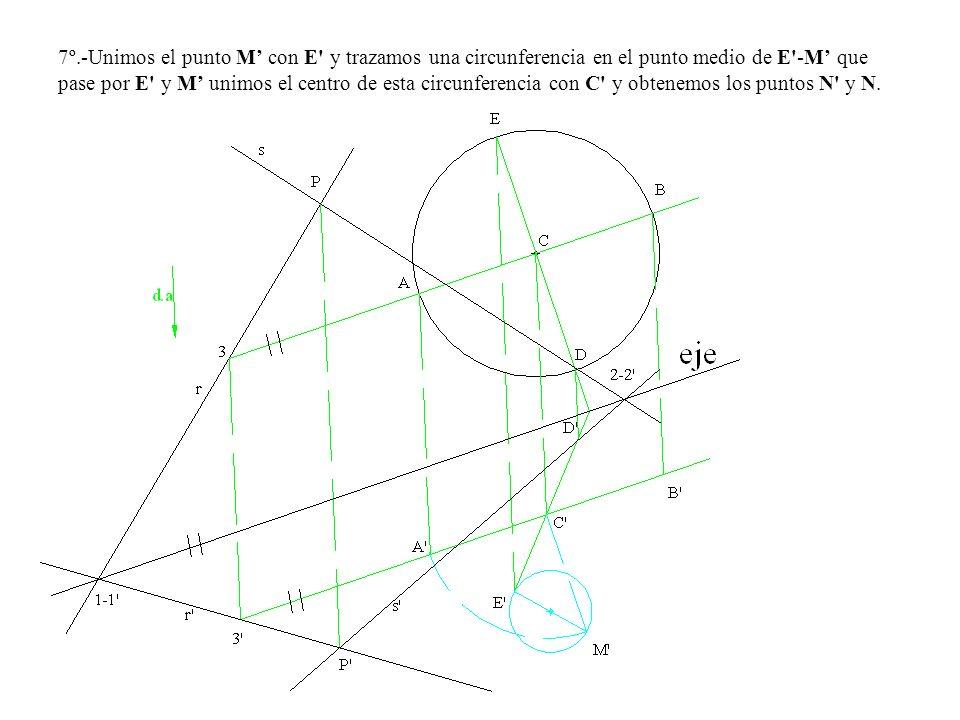 7º.-Unimos el punto M con E' y trazamos una circunferencia en el punto medio de E'-M que pase por E' y M unimos el centro de esta circunferencia con C