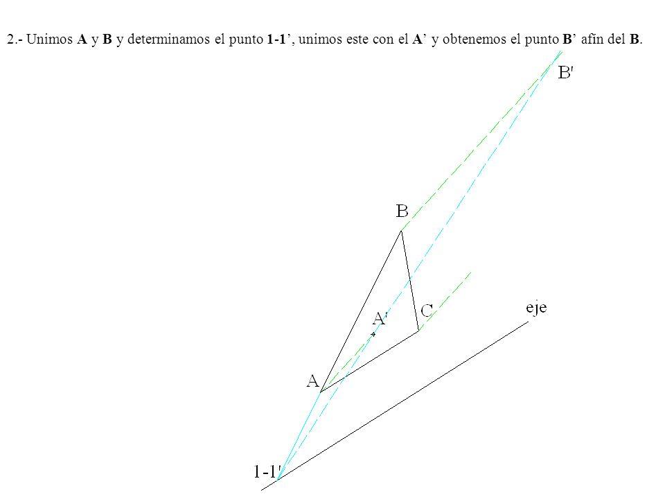 Ejercicio Nº 8.- Dada una afinidad por su eje y dos puntos afines A y A , se pide obtener las figura afín de la dada.