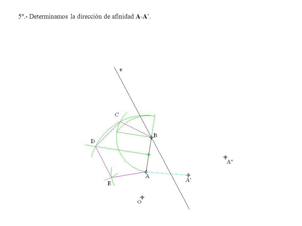 5º.- Determinamos la dirección de afinidad A-A.