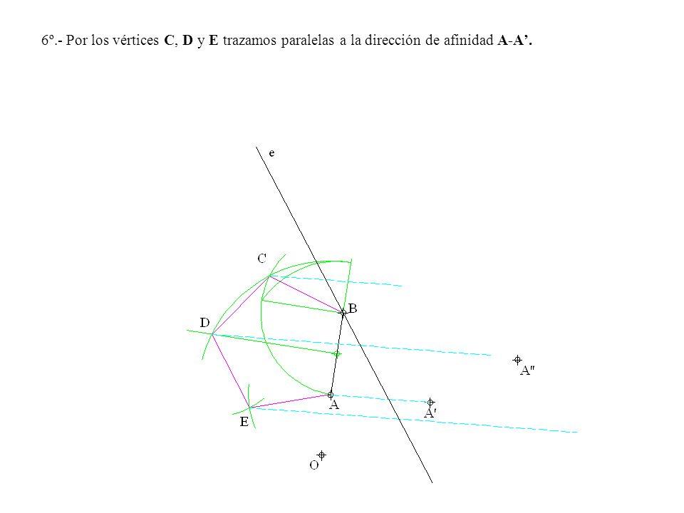 6º.- Por los vértices C, D y E trazamos paralelas a la dirección de afinidad A-A.