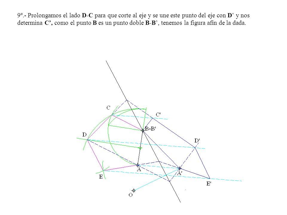 9º.- Prolongamos el lado D-C para que corte al eje y se une este punto del eje con D y nos determina C, como el punto B es un punto doble B-B, tenemos