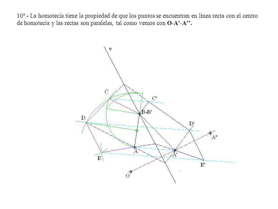10º.- La homotecia tiene la propiedad de que los puntos se encuentran en línea recta con el centro de homotecia y las rectas son paralelas, tal como v