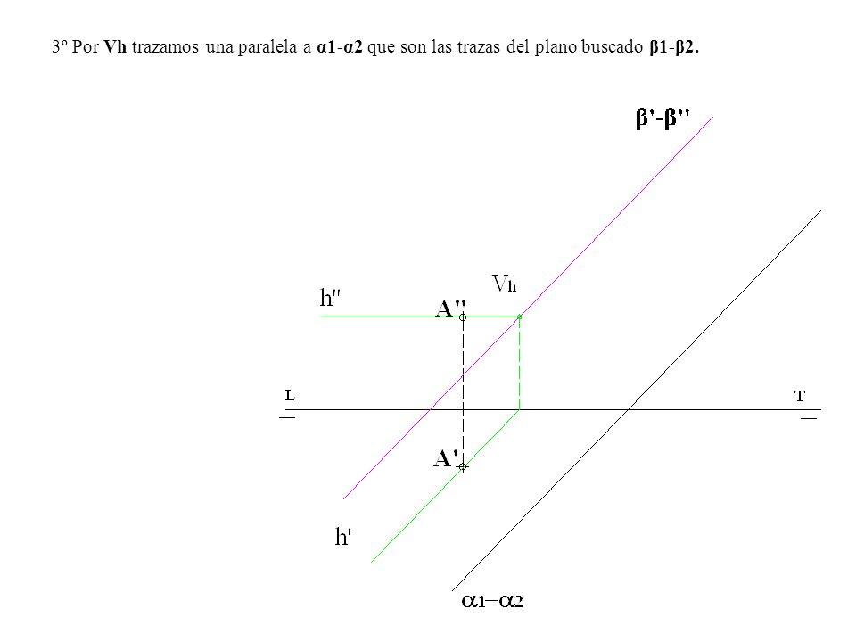 3º Por Vh trazamos una paralela a α1-α2 que son las trazas del plano buscado β1-β2.