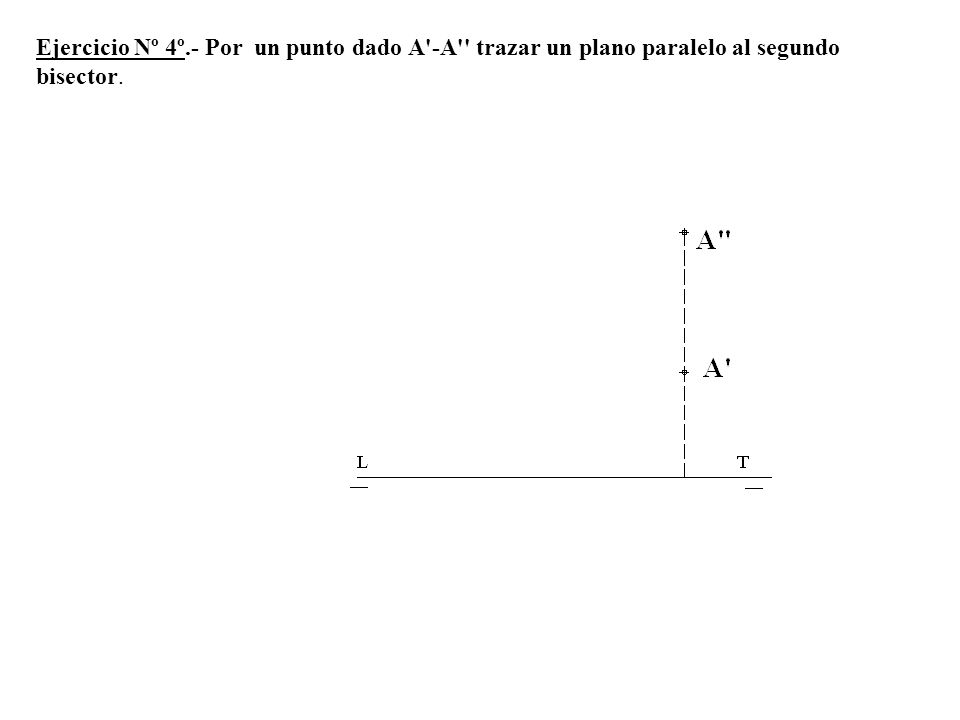 Ejercicio Nº 4º.- Por un punto dado A'-A'' trazar un plano paralelo al segundo bisector.