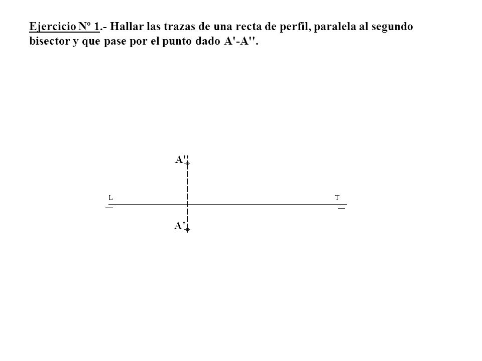 Ejercicio Nº 1.- Hallar las trazas de una recta de perfil, paralela al segundo bisector y que pase por el punto dado A'-A''.