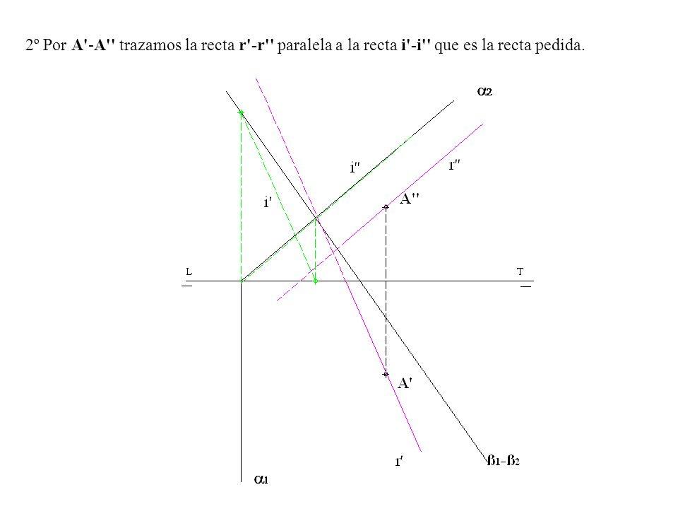 2º Por A'-A'' trazamos la recta r'-r'' paralela a la recta i'-i'' que es la recta pedida.