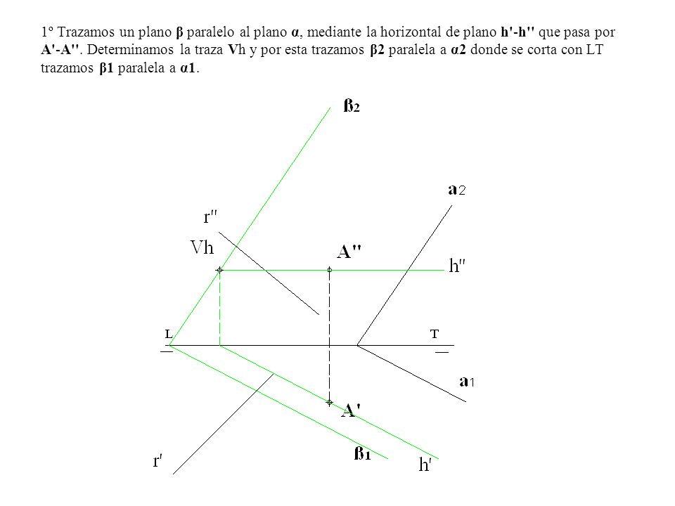 1º Trazamos un plano β paralelo al plano α, mediante la horizontal de plano h'-h'' que pasa por A'-A''. Determinamos la traza Vh y por esta trazamos β