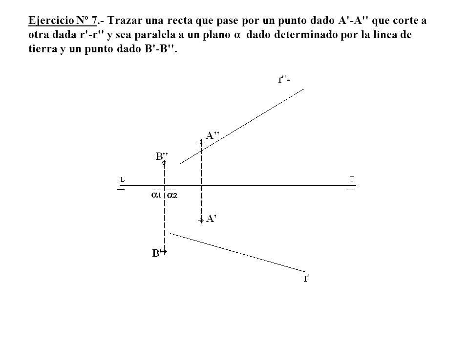 Ejercicio Nº 7.- Trazar una recta que pase por un punto dado A'-A'' que corte a otra dada r'-r'' y sea paralela a un plano α dado determinado por la l