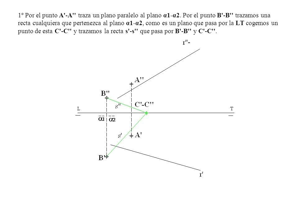 1º Por el punto A'-A'' traza un plano paralelo al plano α1-α2. Por el punto B'-B'' trazamos una recta cualquiera que pertenezca al plano α1-α2, como e