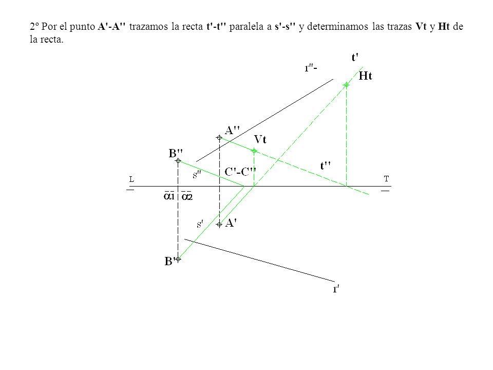 2º Por el punto A'-A'' trazamos la recta t'-t'' paralela a s'-s'' y determinamos las trazas Vt y Ht de la recta.