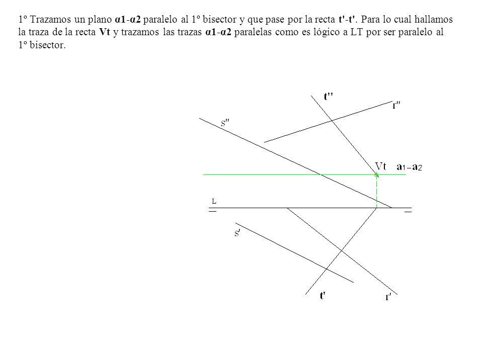 1º Trazamos un plano α1-α2 paralelo al 1º bisector y que pase por la recta t'-t'. Para lo cual hallamos la traza de la recta Vt y trazamos las trazas