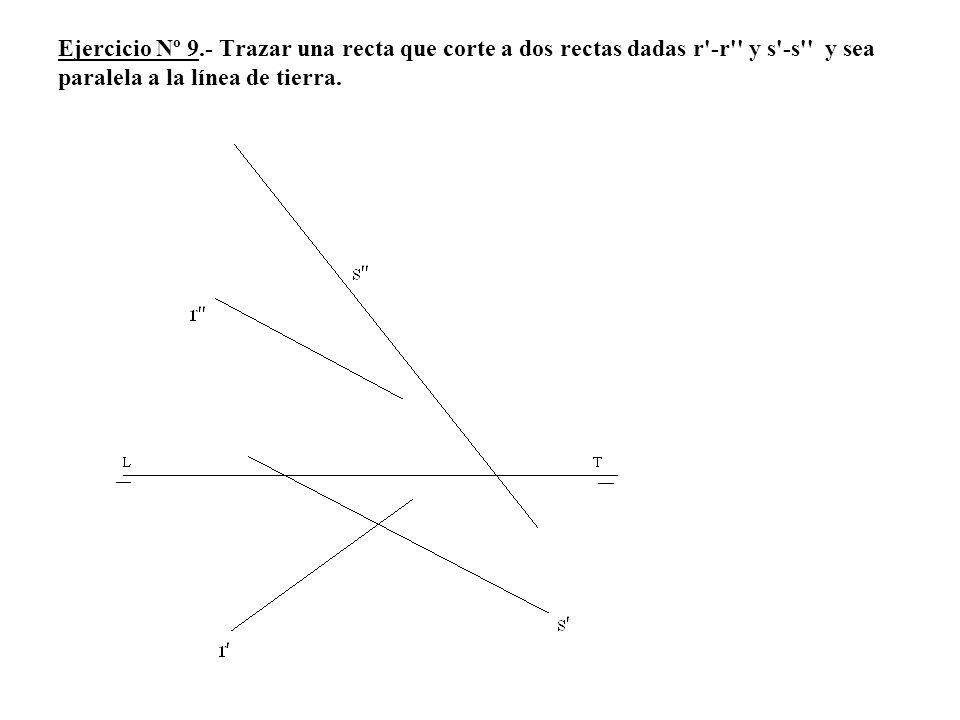 Ejercicio Nº 9.- Trazar una recta que corte a dos rectas dadas r'-r'' y s'-s'' y sea paralela a la línea de tierra.