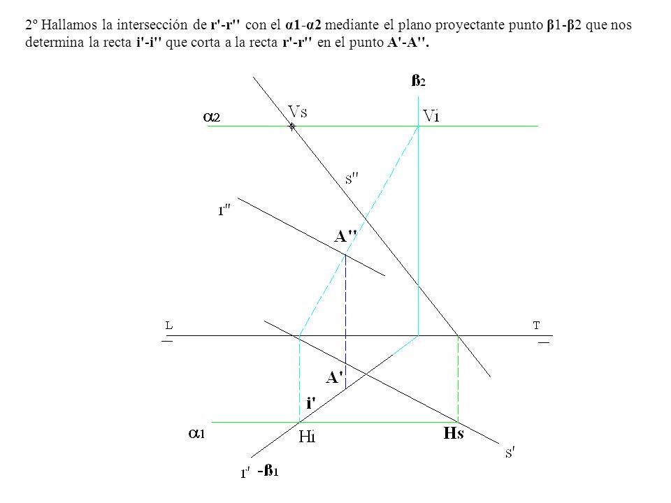 2º Hallamos la intersección de r'-r'' con el α1-α2 mediante el plano proyectante punto β1-β2 que nos determina la recta i'-i'' que corta a la recta r'