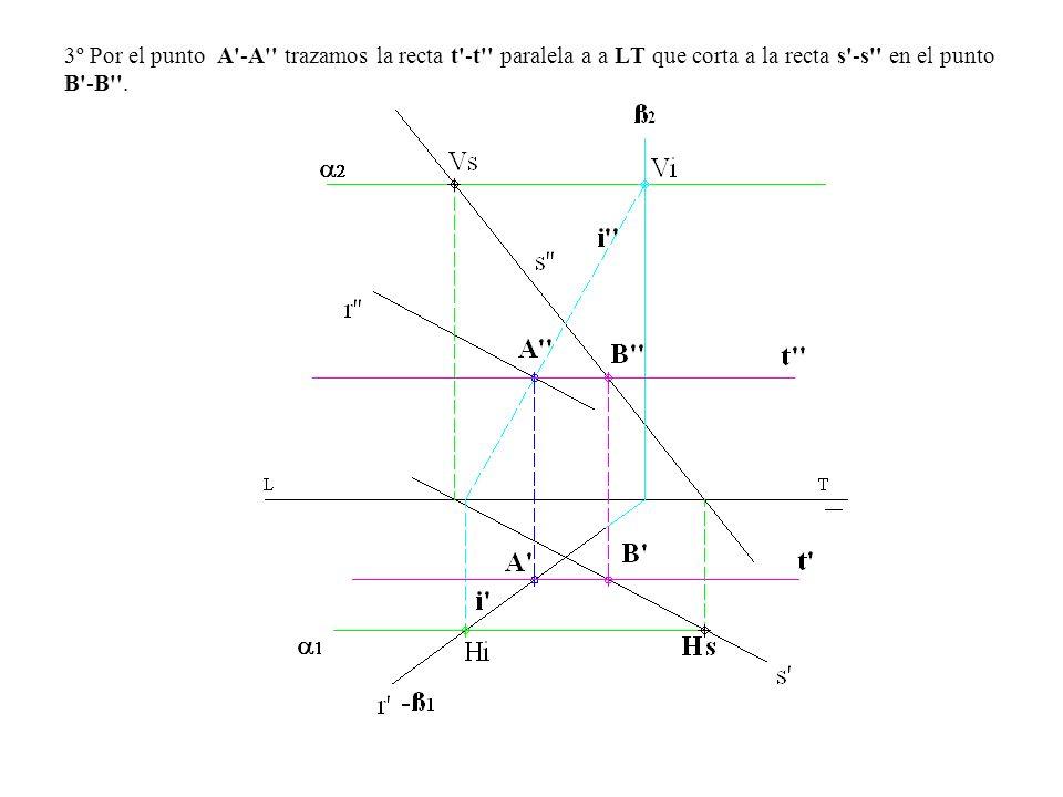 3º Por el punto A'-A'' trazamos la recta t'-t'' paralela a a LT que corta a la recta s'-s'' en el punto B'-B''.