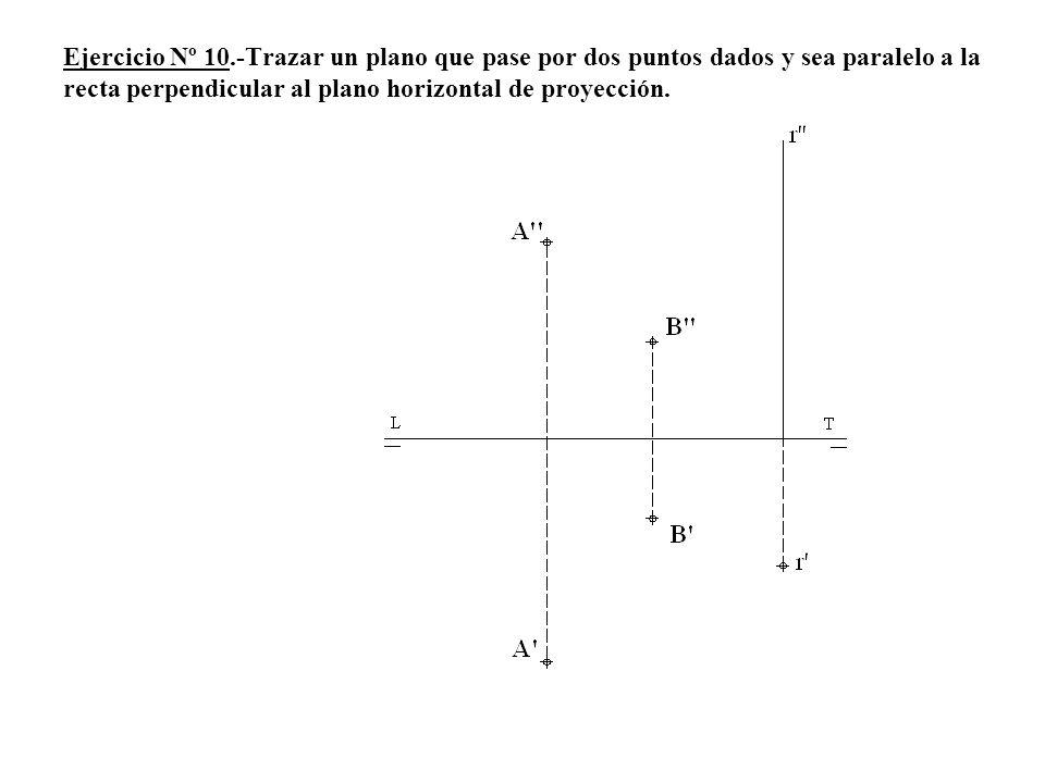 Ejercicio Nº 10.-Trazar un plano que pase por dos puntos dados y sea paralelo a la recta perpendicular al plano horizontal de proyección.