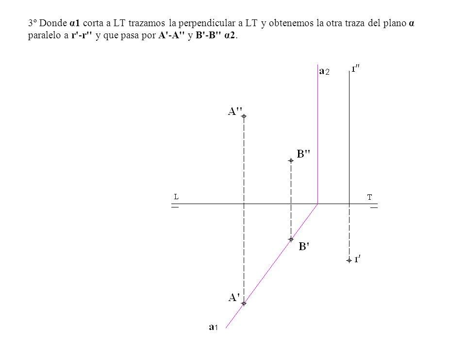 3º Donde α1 corta a LT trazamos la perpendicular a LT y obtenemos la otra traza del plano α paralelo a r'-r'' y que pasa por A'-A'' y B'-B'' α2.