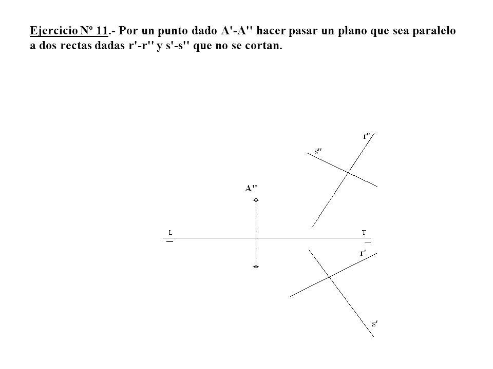 Ejercicio Nº 11.- Por un punto dado A'-A'' hacer pasar un plano que sea paralelo a dos rectas dadas r'-r'' y s'-s'' que no se cortan.