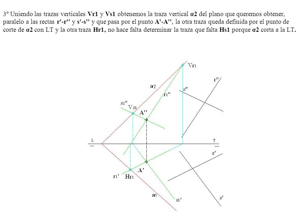 3º Uniendo las trazas verticales Vr1 y Vs1 obtenemos la traza vertical α2 del plano que queremos obtener, paralelo a las rectas r'-r'' y s'-s'' y que